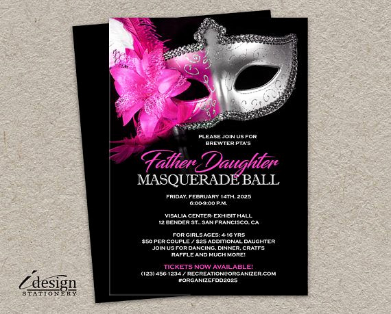 Father Daughter Dance Invitation Template New Masquerade Father Daughter Dance Invitation for School