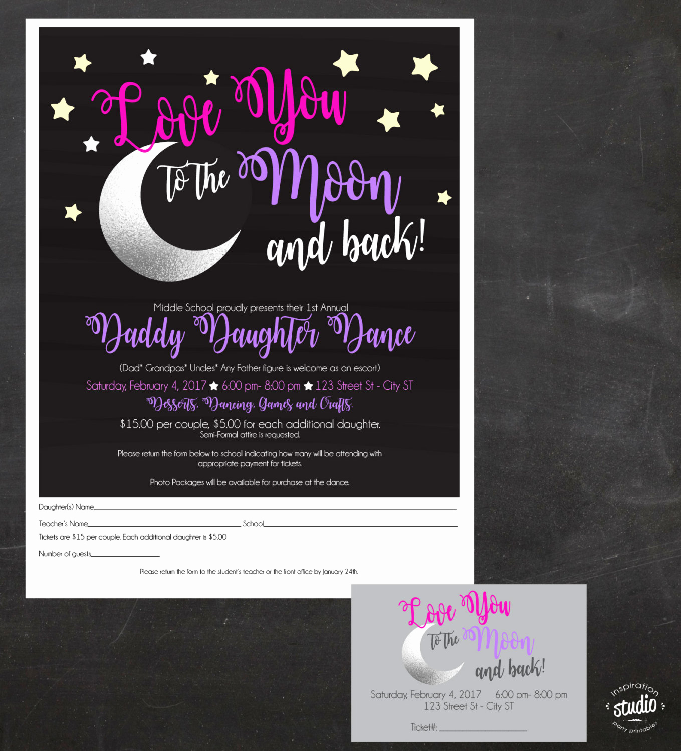 Father Daughter Dance Invitation Template Unique Daddy Daughter Dance Love You to the Moon and Back event