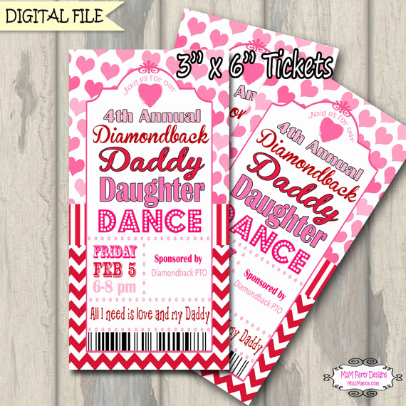 Father Daughter Dance Invitation Unique Daddy Daughter Dance Ticket Celebration Valentine Red and