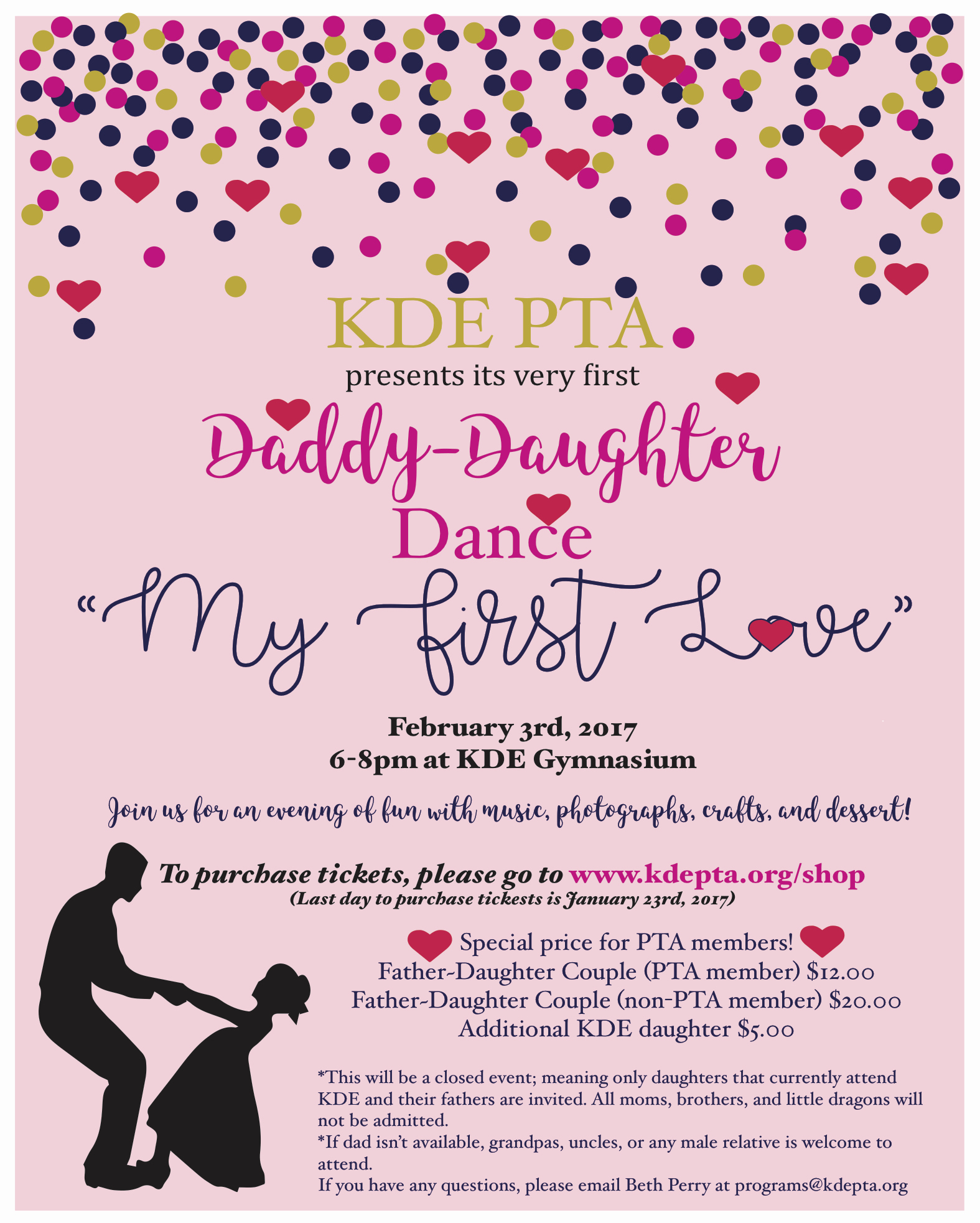 Father Daughter Dance Invitation Unique Father Daughter Dance Tickets now Sale Kde Pta