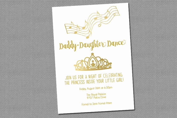 Father Daughter Dance Invitation Wording Elegant Daddy Daughter Dance Invitation Printable 1255