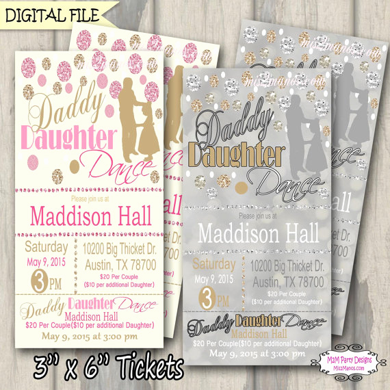 Father Daughter Dance Invitation Wording Fresh Daddy Daughter Dance Ticket Celebration Glitter and Gold