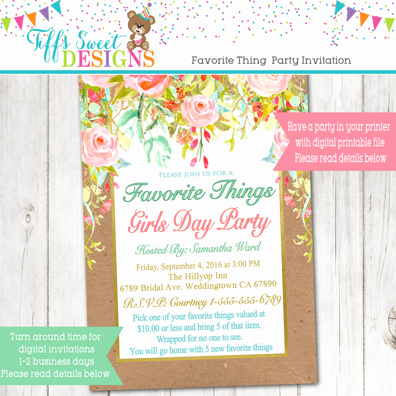 Favorite Things Party Invitation Best Of Favorite Things Girls Day Party Favorite Girls Night Party