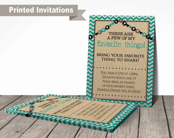 Favorite Things Party Invitation Best Of Printed Favorite Things Party Invitations by Printartshoppe