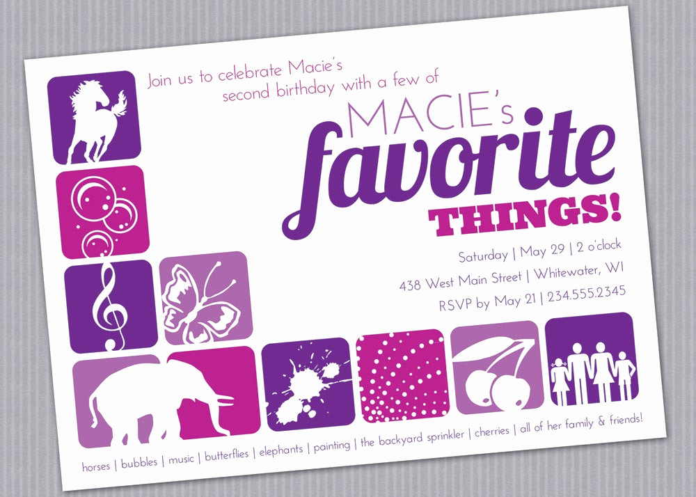 Favorite Things Party Invitation Elegant Favorite Things Birthday Party Invitation Custom Printable