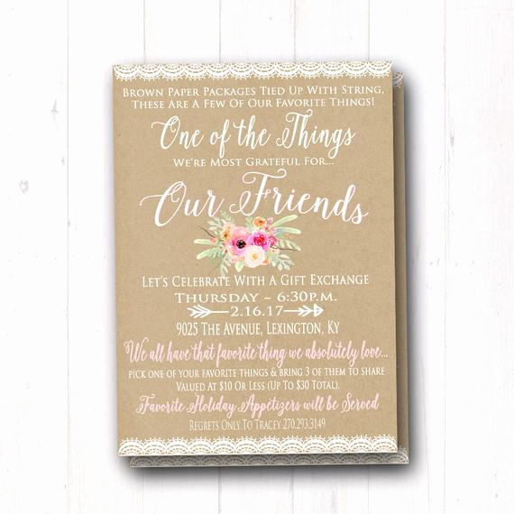 Favorite Things Party Invitation Elegant Favorite Things Birthday Party Invitation La S Gift