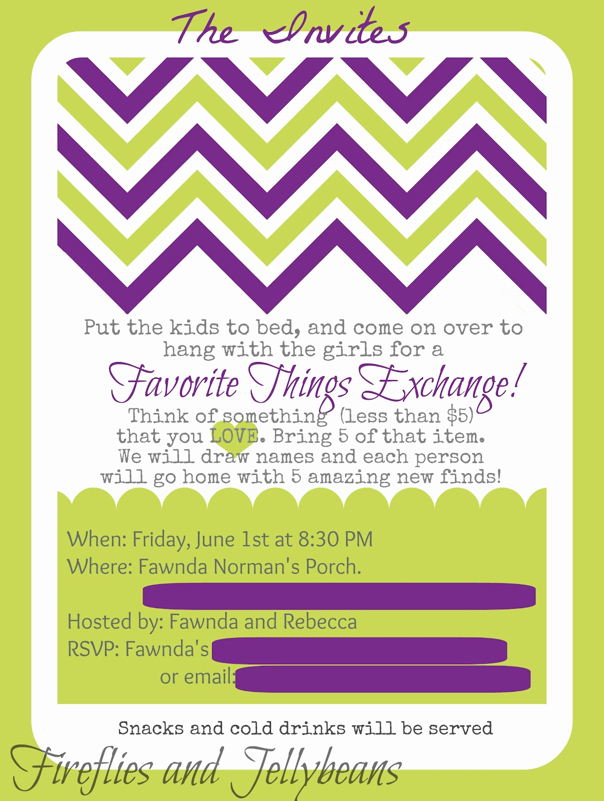Favorite Things Party Invitation Elegant Fireflies and Jellybeans Favorite Things Party