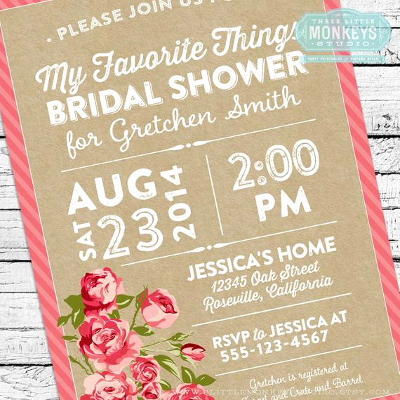 Favorite Things Party Invitation Inspirational My Favorite Things Bridal Shower Invitation