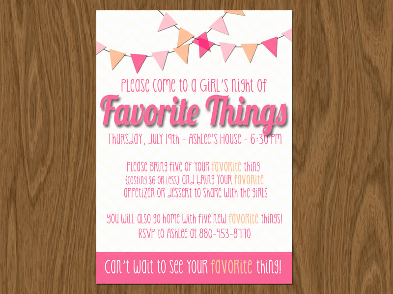 Favorite Things Party Invitation Lovely Favorite Things Party Invite 5x7 Print Yourself or by Room1117