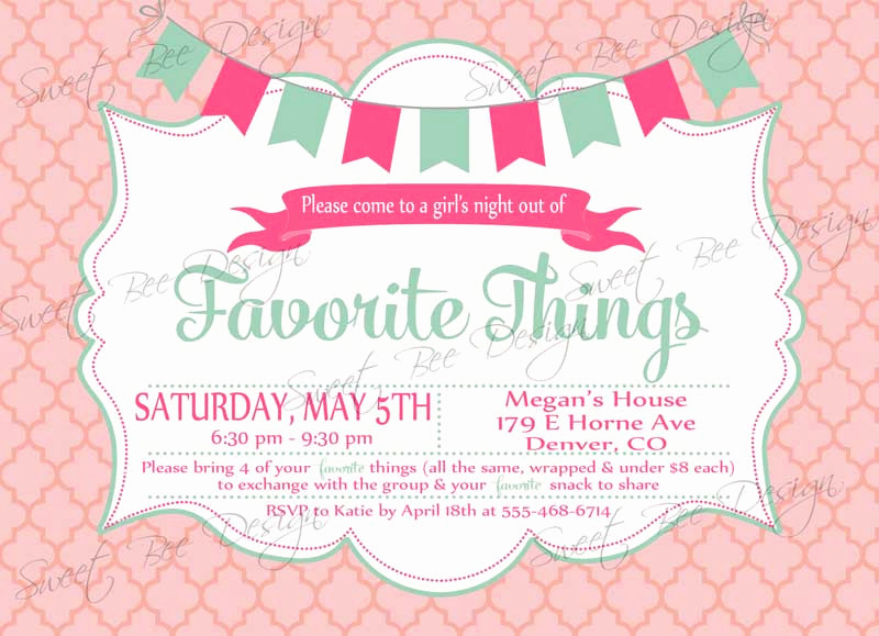 Favorite Things Party Invitation Luxury Favorite Things Party Invitation Custom Printable