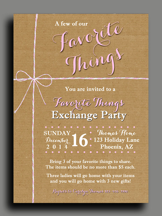 Favorite Things Party Invitation Template Fresh Favorite Things Party Invitation Printable or Printed with