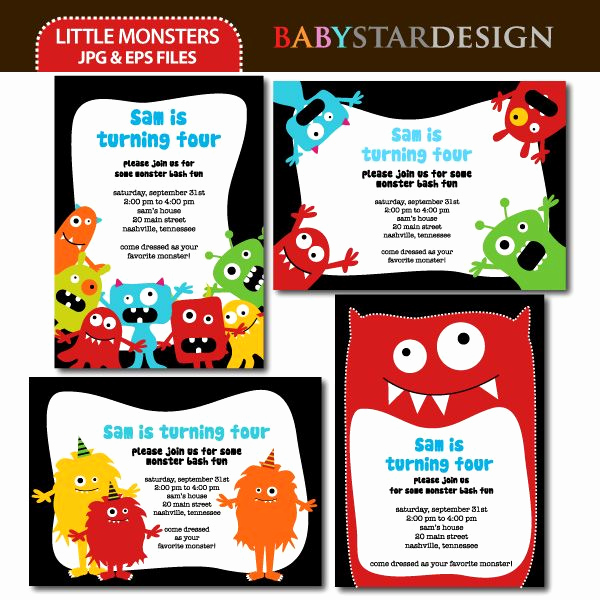Favorite Things Party Invitation Template Fresh Little Monsters Invitation Templates My Favorite