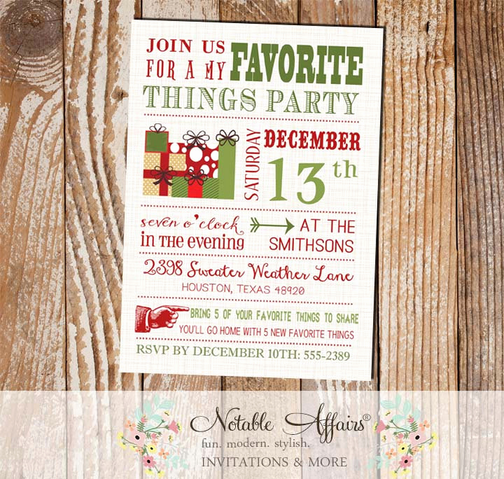 Favorite Things Party Invitation Template Inspirational Modern My Favorite Things Party Invitation On Brown Linen