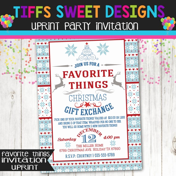 Favorite Things Party Invitation Unique Favorite Things Christmas Party Christmas Gift Exchange