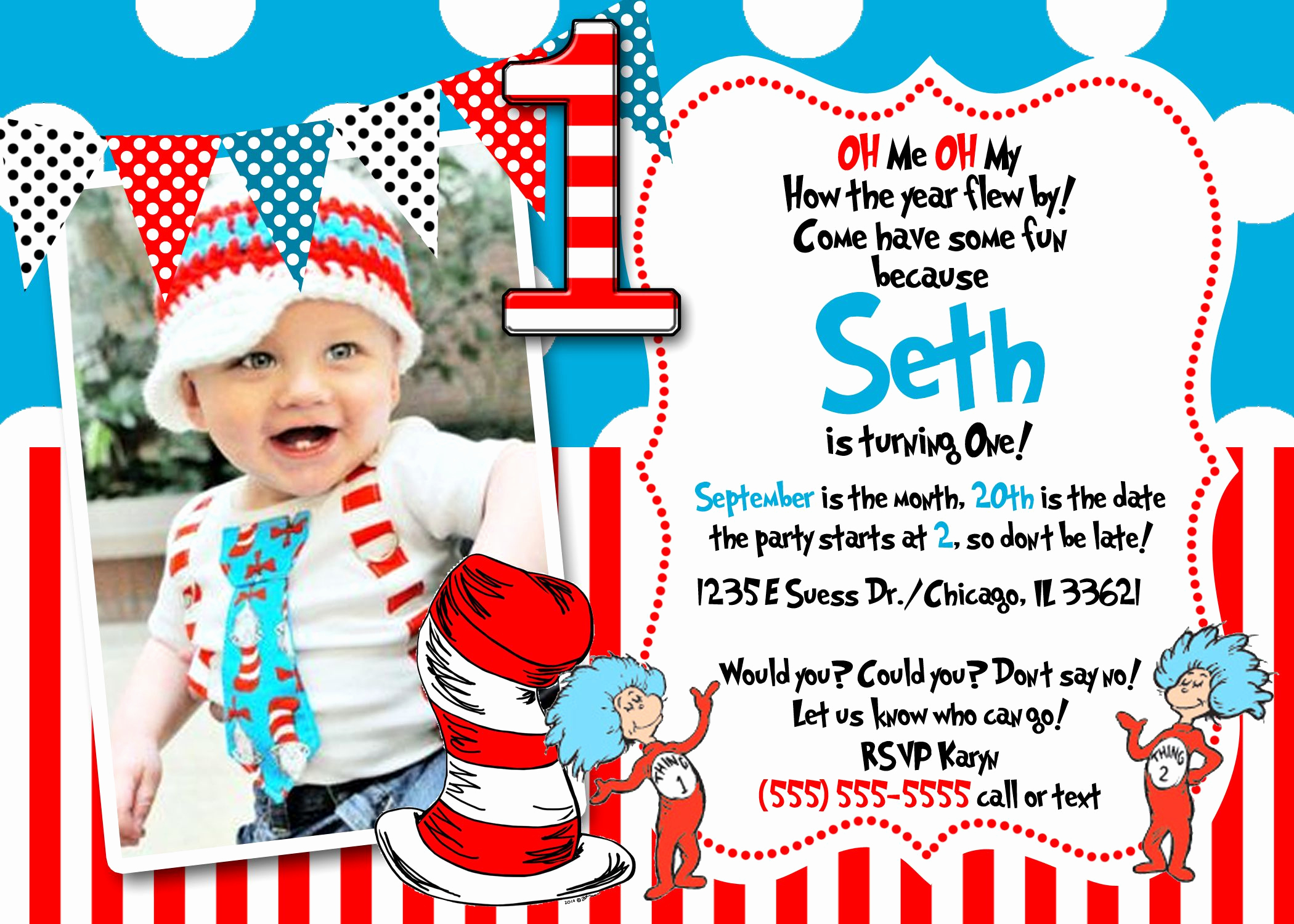 First Birthday Invitation Ideas Best Of Dr Seuss First Birthday Invitations