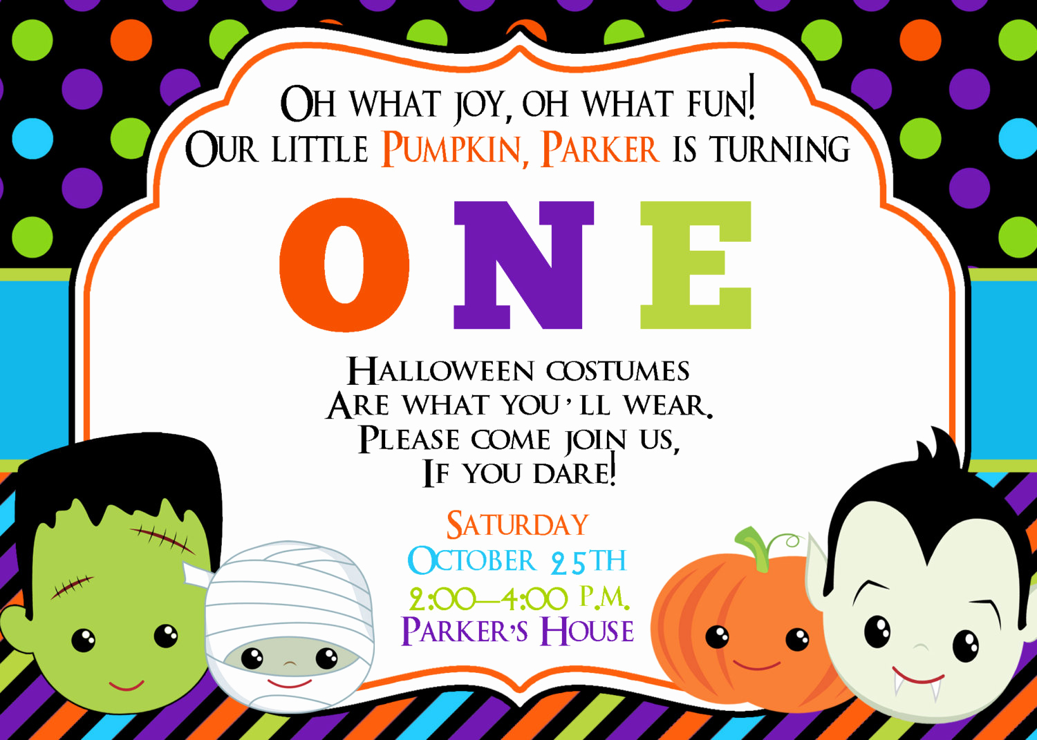First Birthday Invitation Ideas Elegant First Birthday Halloween Party Invitation Halloween Birthday