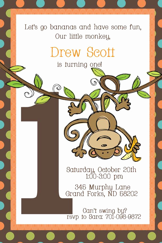 First Birthday Invitation Ideas Elegant Swinging Monkey First Birthday Invitation