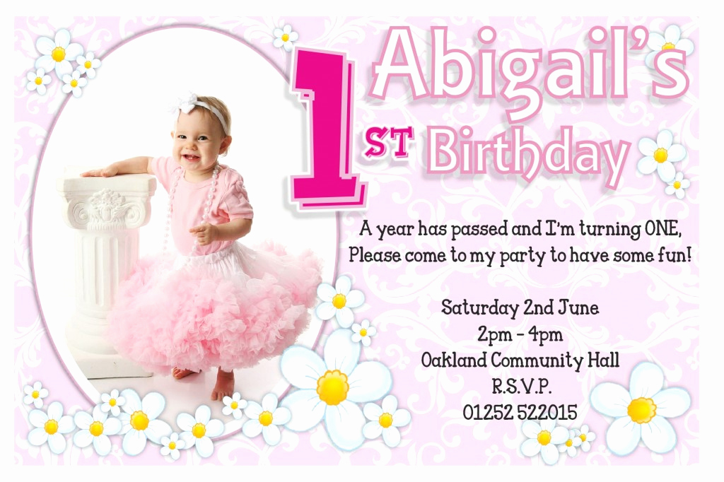 First Birthday Invitation Ideas Fresh 1st Birthday Invitations Ideas for Girl – Bagvania Free