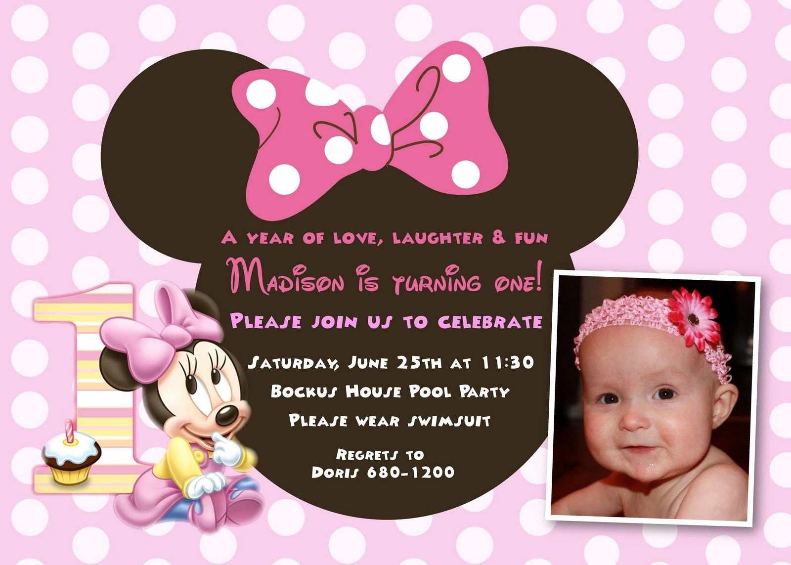 First Birthday Invitation Ideas Fresh Cool Minnie Mouse First Birthday Invitations Designs