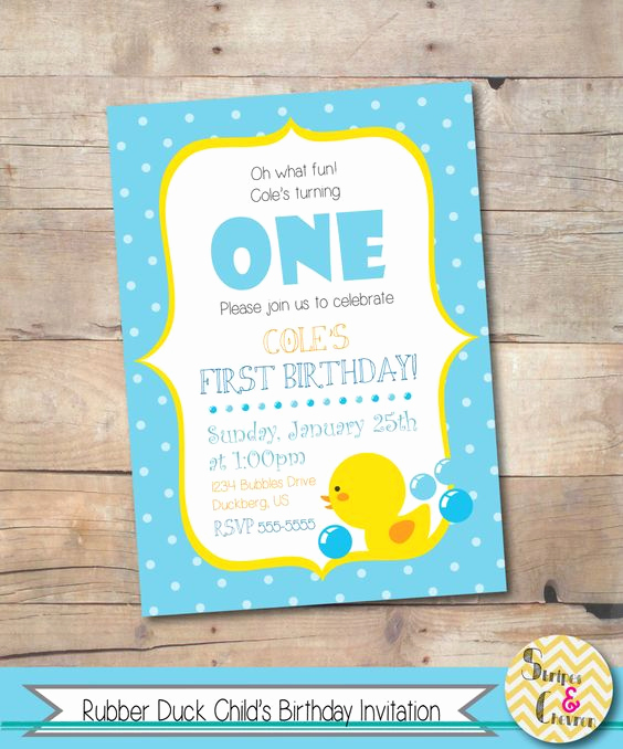 First Birthday Invitation Ideas Inspirational Rubber Duck Birthday Invitation Printable Boys Birthday