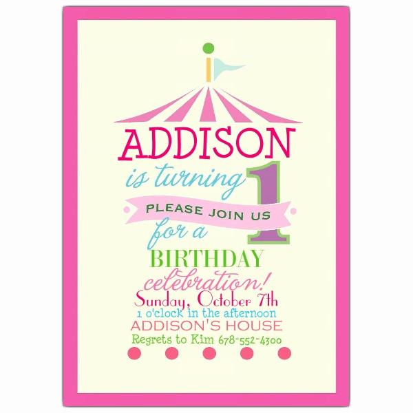 First Birthday Invitation Wording Beautiful Pink Circus 1st Birthday Invitations