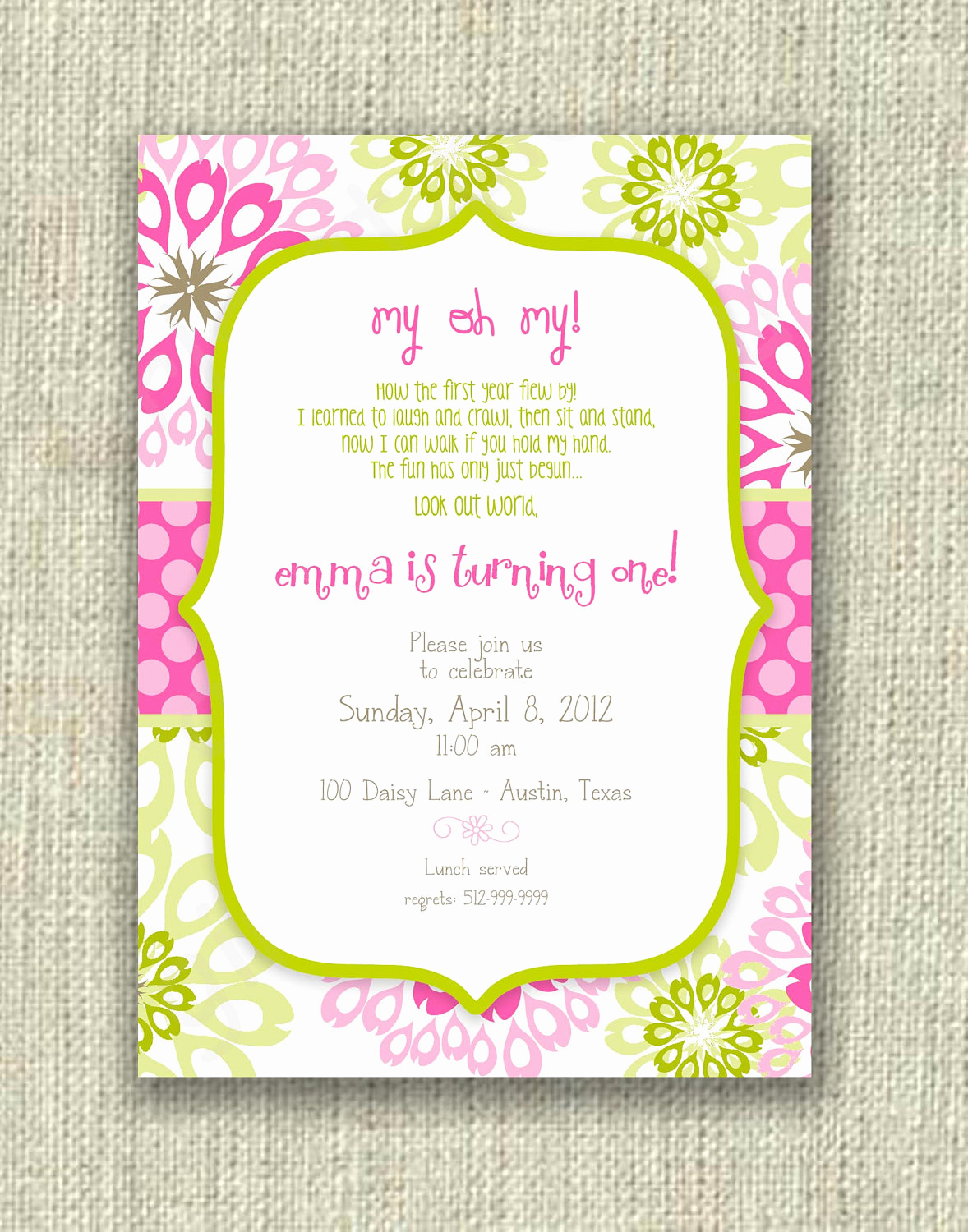 First Birthday Invitation Wording Unique Modern 1st First Birthday Girl Invitation Pink by Girlsatplay