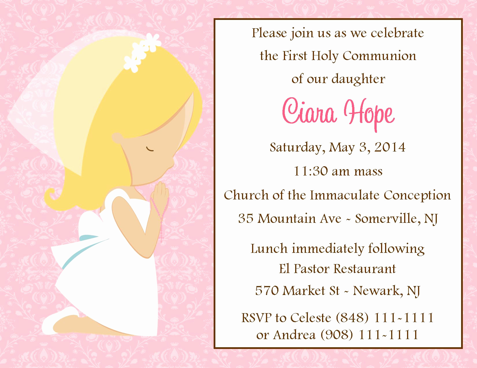 First Communion Invitation Girl Awesome First Munion Invitation Girl Digital File