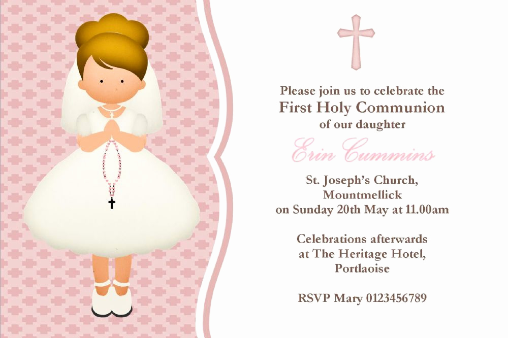 First Communion Invitation Girl Awesome Personalised First Munion Invitations Girl New Design 4