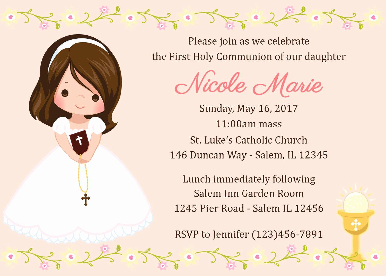 First Communion Invitation Girl Beautiful First Munion Invitation Girl Digital File 1st