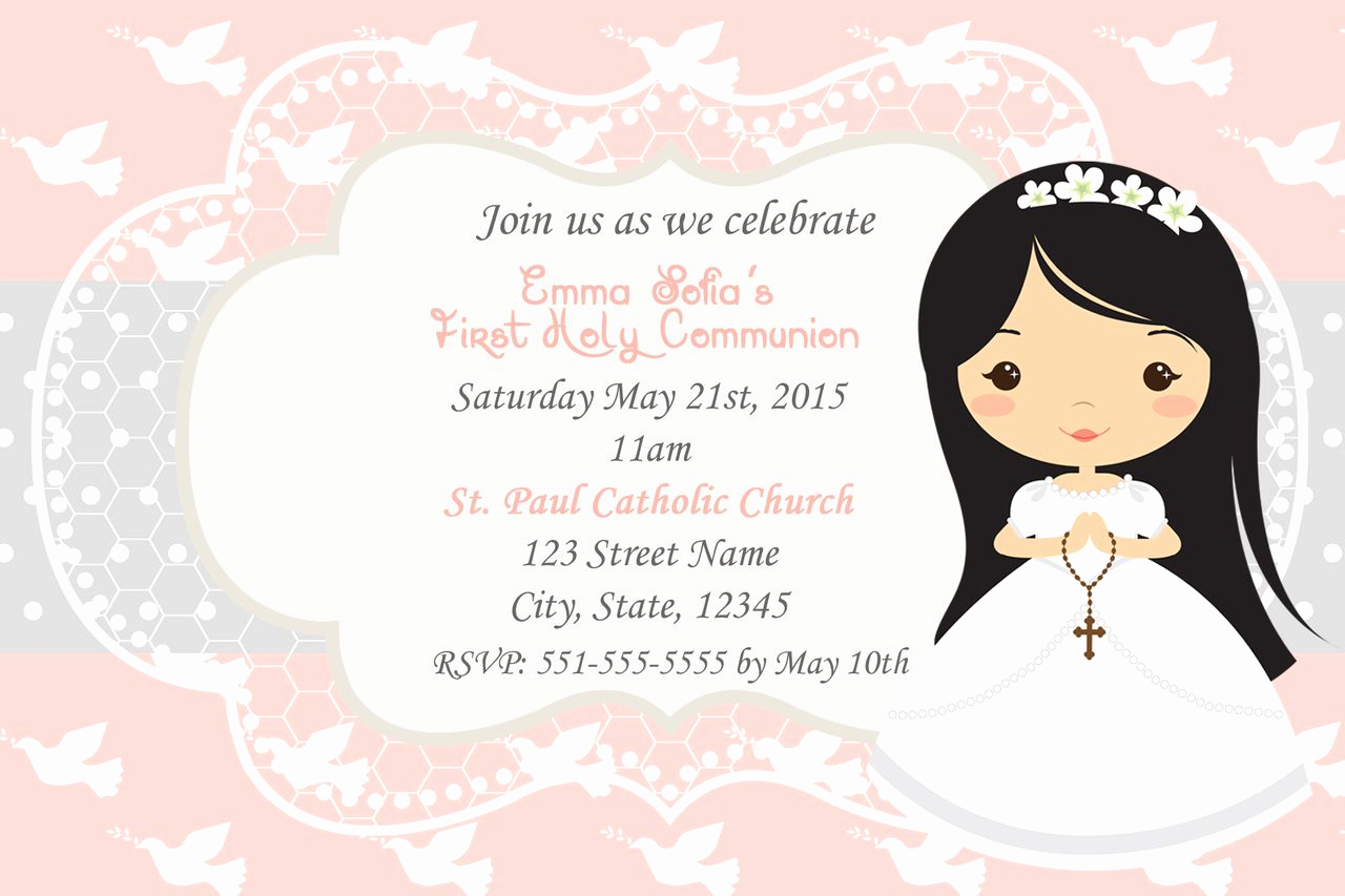 First Communion Invitation Girl Best Of First Holy Munion Girl Christening Digital