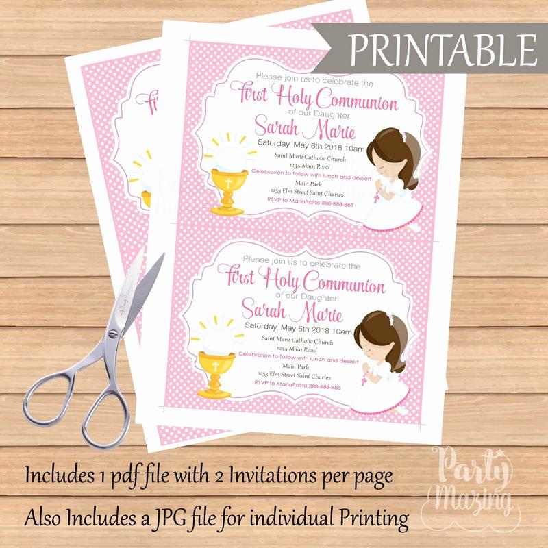 First Communion Invitation Girl Elegant First Munion Invitation Printable Invitation Girl S