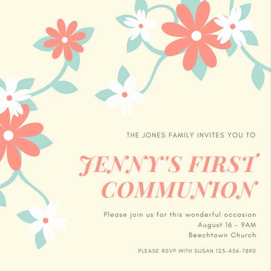 First Communion Invitation Girl Elegant First Munion Invitation Templates Canva