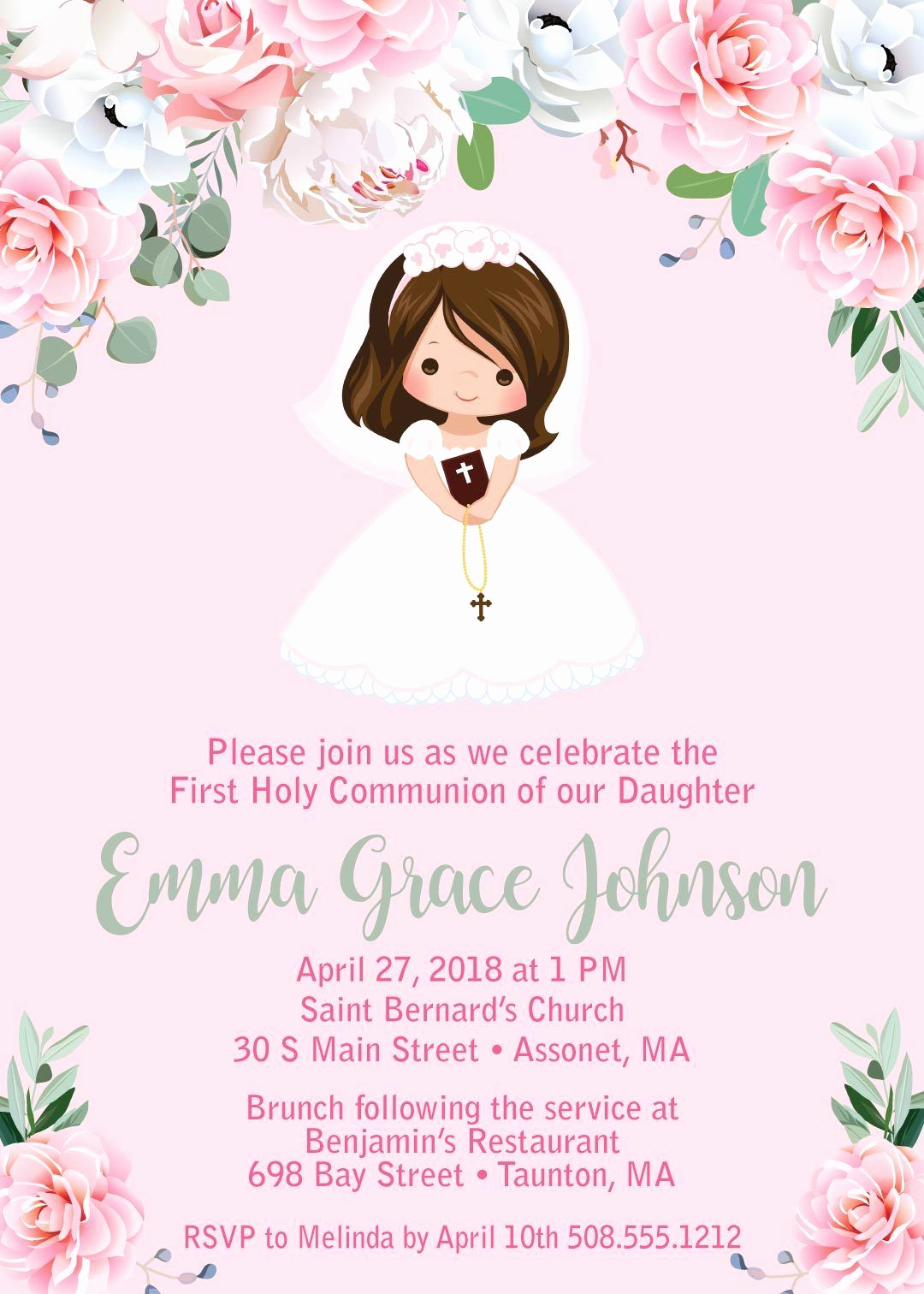 First Communion Invitation Girl Elegant Girl First Munion Invitations