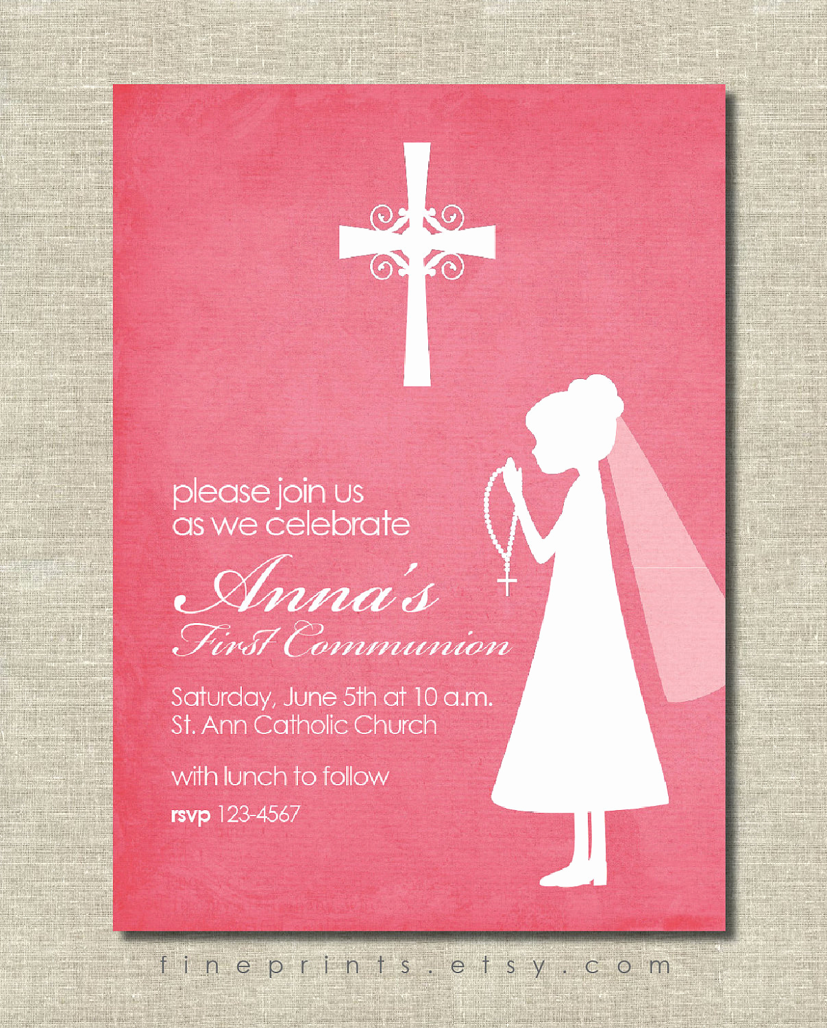 First Communion Invitation Girl Fresh First Munion Invitation Pink with Silhouette