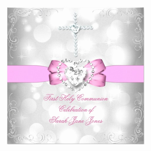 "First Communion Invitation Girl Fresh Girl First Holy Munion White Pink 5 25"" Square"
