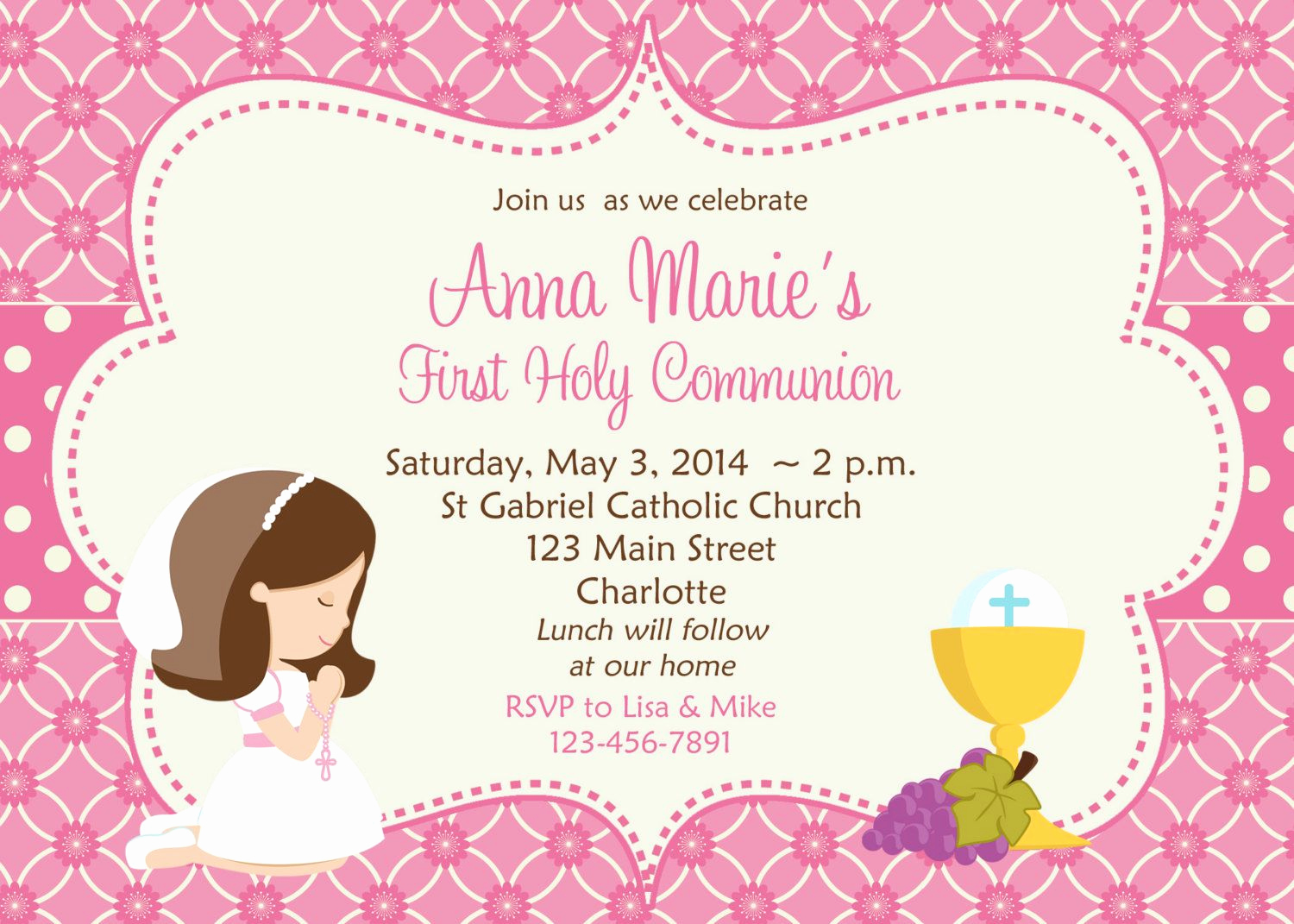 First Communion Invitation Girl Inspirational First Holy Munion Invitation Cards Free