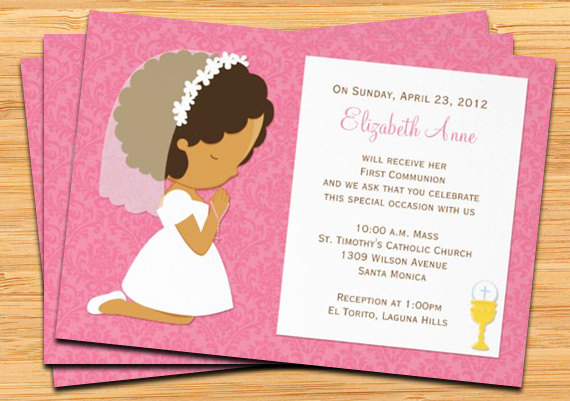 First Communion Invitation Girl Lovely First Munion Invitation for Girl