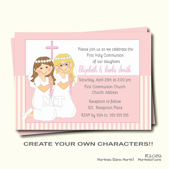First Communion Invitation Girl Luxury First Munion Invitation Twin Girls First Holy Munion