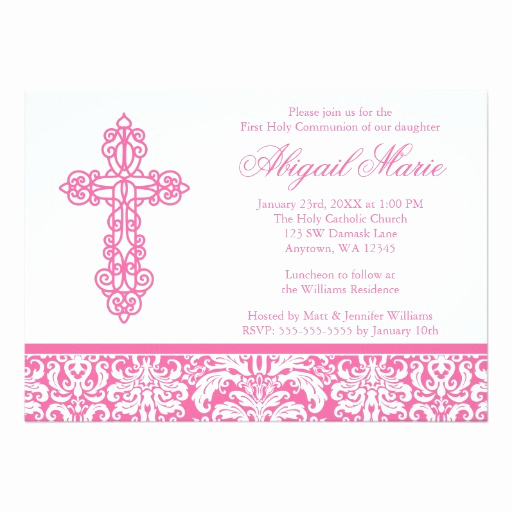 First Communion Invitation Girl Luxury Pink ornate Cross Damask Girl First Holy Munion
