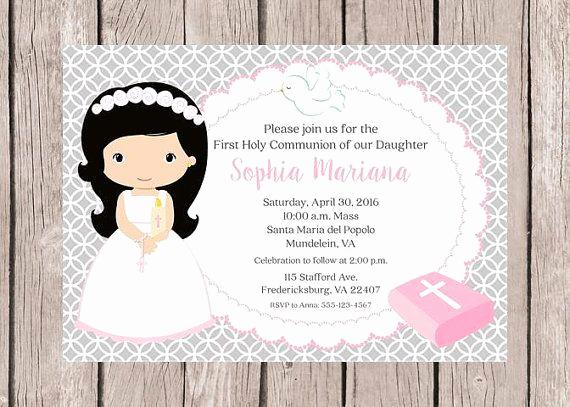 First Communion Invitation Girl Luxury Printable Girls First Holy Munion Invitation In by