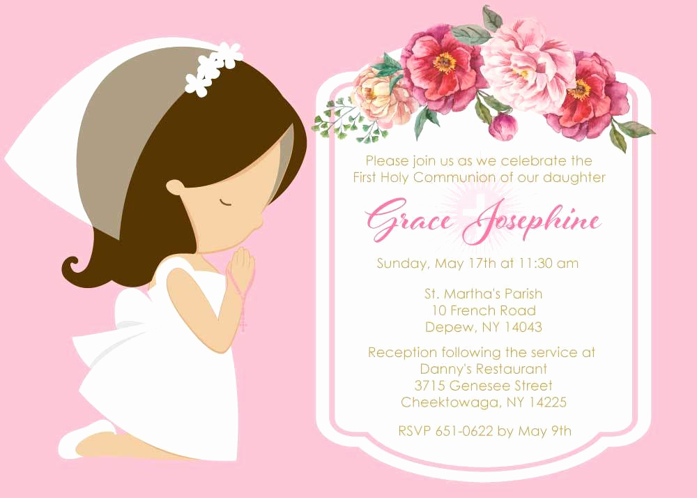 First Communion Invitation Girl New Girl Praying First Munion Invitations