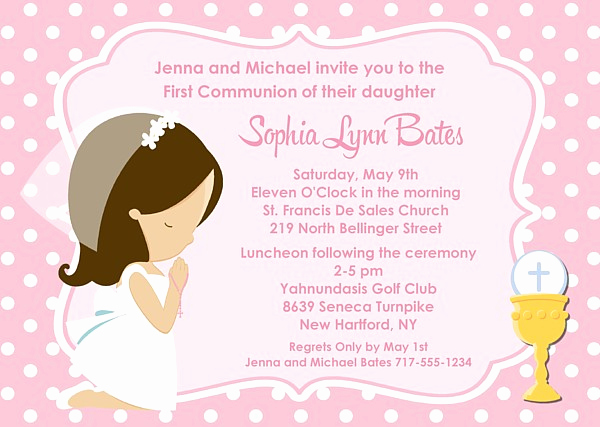 First Communion Invitation Girl Unique First Holy Munion Girl Invitations