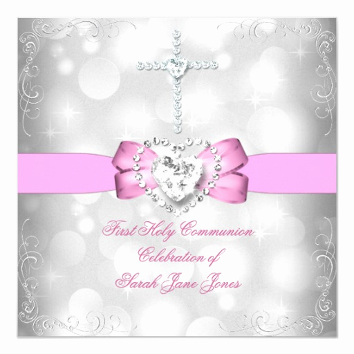 First Communion Invitation Girl Unique Girl First Holy Munion White Pink Invitation