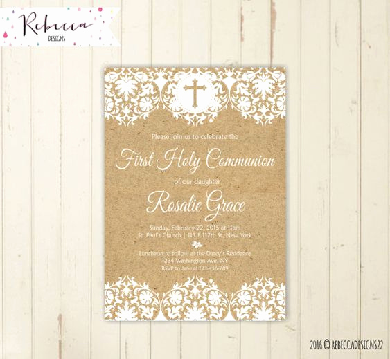 First Communion Invitation Ideas Awesome Rustic First Munion Invitation Girl First Munion