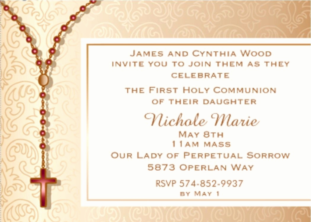 First Communion Invitation Ideas Fresh First Munion Party Invitation Rosary Beads Cross On