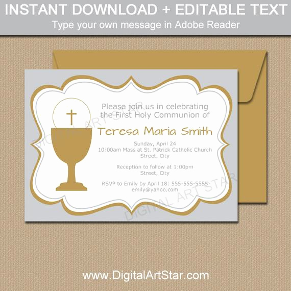 First Communion Invitation Template Awesome First Munion Invitation Template 1st Munion