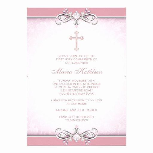 First Communion Invitation Template Awesome Pink Damask Cross First Munion 5x7 Paper Invitation