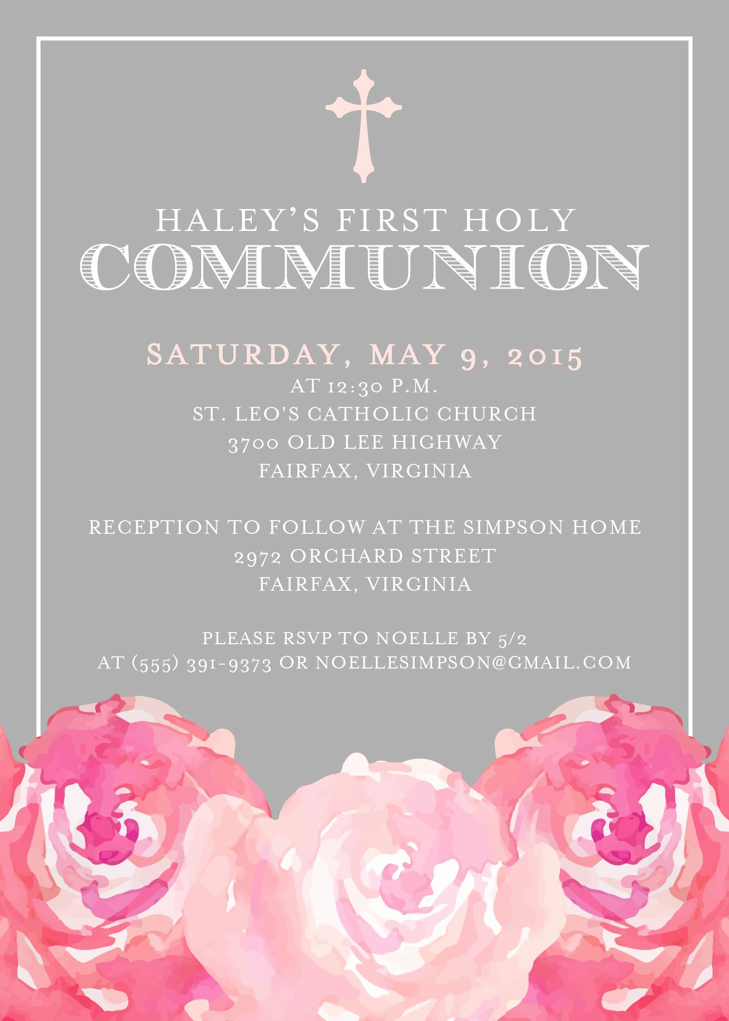 First Communion Invitation Template Beautiful First Munion Invitation First Holy Munion