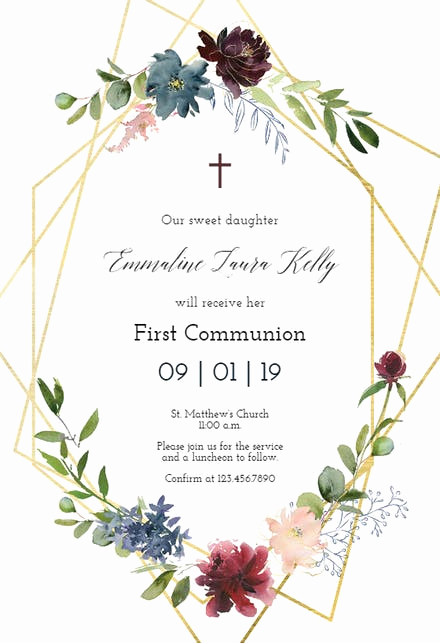 First Communion Invitation Template Best Of First Holy Munion Invitation Templates Free