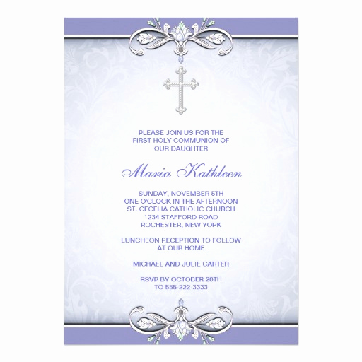 First Communion Invitation Template Best Of Purple Damask Cross First Munion 5x7 Paper Invitation